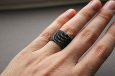 Wide gray ring Minimalist ring Grey band ring by HappyBeadwork