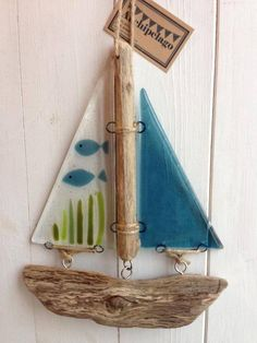 Fused glass and driftwood lightcatcher boat - Fish Tank £22.00                                                                                                                                                                                 More