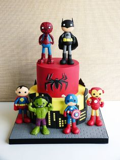 Can this please be my next birthday cake? Except with captain america and iron Man on top:)