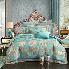 Luxury Baroque Pattern Bedding Set With Jacquard Embroidery Colors) Cozy Bed, Bed Linens Luxury, Embroidered Duvet Cover, King Size Bedding Sets, Bed, Luxury Bedding Collections, Luxury Bedding, Blue Bedding Sets, Bedding Sets