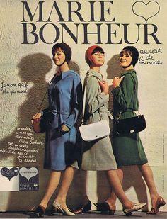 PUBLICITE ADVERTISING 094 1963 MARIE BONHEUR au coeur de la mode in Collections, Objets publicitaires, Publicités papier | eBay