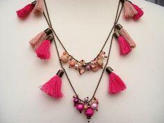 Ketten lang - Quastenkette pink Bronze - ein Designerstück von Ulla-bellecose bei DaWanda