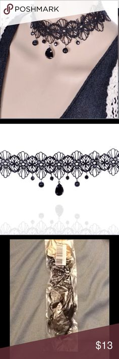 💖🌷 Choker 🌷💖❗️❗️❗️ ☀️ Lolita Black Lace Flower Beaded Choker ☀️ ❗️ ❗️ ❗️ Jewelry Necklaces