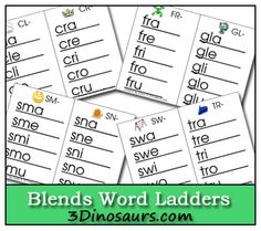Free Blends Word Ladders by tidebuywomenclothes Phonics Reading, Teaching Phonics, Phonics Activities, Teaching Reading, Learning, Kindergarten Phonics, Word Study, Word Work, Word Ladders