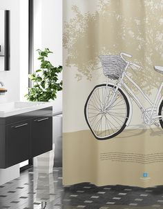 ShowerCurtain-Tree&Bicycle