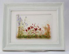 Summer Meadow - framed fused glass tile £28.00