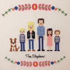 Image of Custom Cross Stitch Family Portrait Pattern