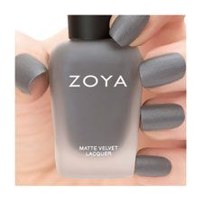 """Loredana"" by #Zoya can be best described as a medium gunmetal grey, packed with silvery shimmer and a velvety MATTE VELVET finish.This shade gives the nails the appearance of brushed steel."