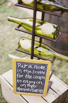 Put a note in a bottle for the newlyweds to read on their anniversaries / http://www.deerpearlflowers.com/outdoor-vineyard-wedding-ideas/