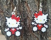 Native American Made Hello Kitty Beaded Earrings