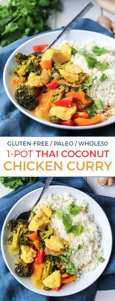 A simple Thai Coconut Chicken Curry made in just one pot, ready in 30 minutes, plus Paleo and Whole30 compliant.