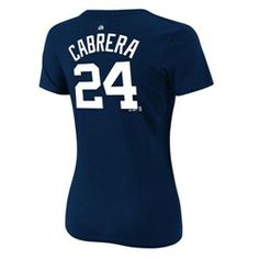 Detroit Tigers Womens Player Name and Number Majestic Tee