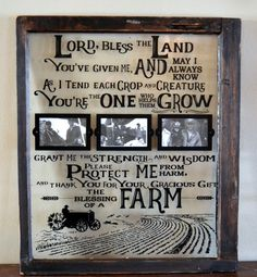 Farmer& Prayer on antique window with by WritingOnTheWindow