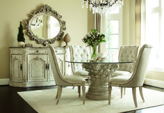 Jessica McClintock - Round Dining Table from American Drew. Classy, timeless, and elegant without breaking the bank. A must-have for lovers of white, rustic furniture. #furniture #diningtable #diningroom #decor #seating #whitefurniture #americandrew #jessicamcclintock