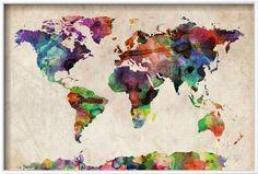 Art.fr - Reproduction transférée sur toile 'Planisphère - mappemonde : aquarelle urbaine' par Michael Tompsett