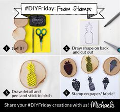 DIYFriday Custom Foam Stamps Sticky-back craft foam, scissors, pen & birch coaster are all you need to create custom stamps in a few easy steps. Use ink pad or paint to stamp your design!