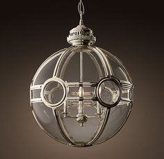 "19Th C. Victorian Globe 24"" Pendant - Polished Nickel 