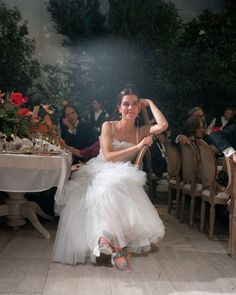 The bride wearing a custom made J Mendel Wedding Gown made of White Tulle with a pair of sparkly silver and white Chanel block heels - Designer Melisa Denizeri Wore Tiers of Tulle for Her Wedding in Istanbul Wedding Goals, Wedding Pics, Dream Wedding, Wedding Day, Wedding Stuff, Moon Wedding, Wedding Things, Bridal Dresses, Flower Girl Dresses