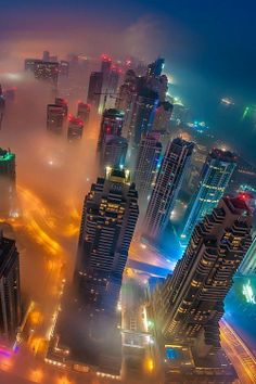 Foggy night in Dubai, United Arab Emirates