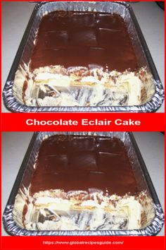 Chocolate Eclair Cake - Daily World Cuisine Recipes Chocolate Eclair Cake, Whats Gaby Cooking, Pancake Cake, Instant Pudding Mix, Eclairs, Frosting Recipes, What To Cook, Graham Crackers, Meal Ideas