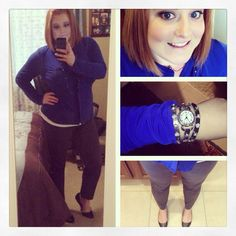 Work casual: Royal blue button up, grey ankle pants, black flats