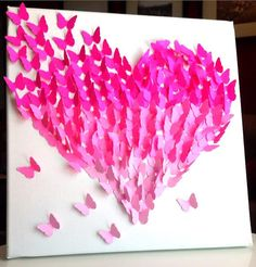 3D Butterfly Wall Art Pink Ombre Classic by TheCoralCanopy on Etsy, $40.00