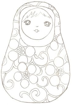 Matryoshka Doll to print & color Embroidery Designs, Matryoshka Doll, Wooden Dolls, Coloring Book Pages, Zentangle, Fabric Painting, Patch, Line Drawing, Printable Art