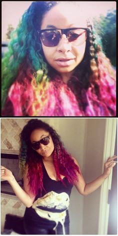 Raven-Symone rainbow curls The Cheetah Girls, Black Girls, Raven Symone, Natural Hair Styles, Short Hair Styles, Mermaid Hair, Rainbow Hair, Platinum Blonde, Celebs