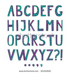 Fantasy hand drawn colorful font. Vector letters set. Collection ornamental Alphabet