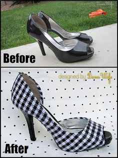 Shoe Makeover. I might have the perfect heels to do this to-thanks to the sharp teeth of my kitties!