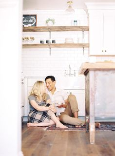 Melissa Jill photographed this sweet engagement session set in the couple's kitchen. From baking galettes, to sipping coffee, their photographs tell a beautiful story of everyday life.