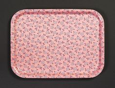 Birchwood tray with fabric (unknown design) Print on cotton, flannel 1940s.