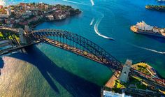 "Aerial view of Sydney Harbour Bridge in Australia. Completed ""Bridge Climb"" in 1999 Sydney Australia, Australia Travel, Tasmania, Places Around The World, Around The Worlds, Melbourne, Brisbane, Sydney Beaches, Land Of Oz"