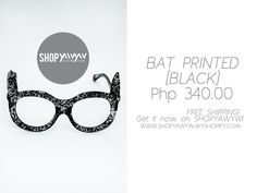 Bat Printed Black Php 340.00 on #ShopYAWYW free shipping How To Get, Free Shipping, Sunglasses, Printed, Shop, Black, Style, Swag, Black People