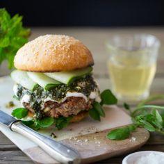 Lamb & feta burger with  mint pesto (photography by Tasha Seccombe)