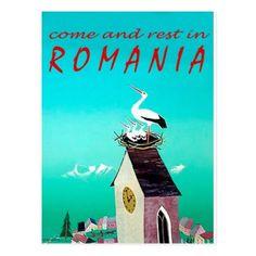#Romaniastork in nestvintage travel postcard - #travel #trip #journey #tour #voyage #vacationtrip #vaction #traveling #travelling #gifts #giftideas #idea