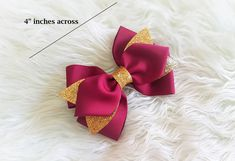 Our very own Djs Handmade Bow. Bow size approximately 4 inches across made in Grosgrain Ribbon with Glittered Gold Canvas Accent, attached in Hair Clip with Teeth. Ribbon Hair Bows, Bow Hair Clips, Emma Wiggle, Gold Canvas, Christmas Hair Bows, Dance Hairstyles, Hair Accessories For Women, Purple Hair, Grosgrain Ribbon
