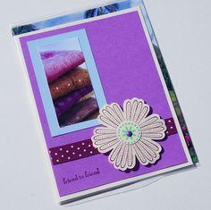 Handmade Friend to Friend Greeting Card in lovely purple