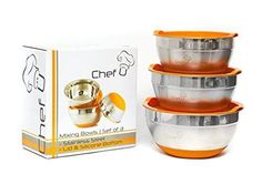 Stainless Steel Mixing Bowl Set with Lids Set of 3 Kitchen Cookware Cooking Tool #ChefU