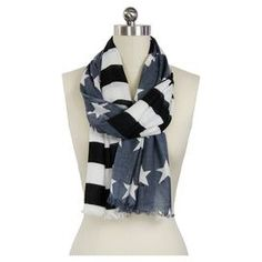"Multicolor scarf with an American flag motif.   Product: ScarfConstruction Material: 100% RayonColor: MultiFeatures: American flag motifDimensions: 28"" x 78""Cleaning and Care: Hand wash in cold water"