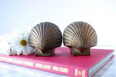 $38 Brass Shell Bookends - Vintage Brass Bookends - Brass Clam Shell - Nautical Decor