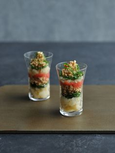 [Recipe] Verrine of Natto (fermented soy beans), potato and Mentaiko (spicy cod roe) / Natto transformed into stylish appetiser! Gourmet Cooking, Easy Cooking, Gourmet Recipes, Cafe Food, Food Menu, Appetizers For Party, Appetizer Recipes, Western Food, English Food