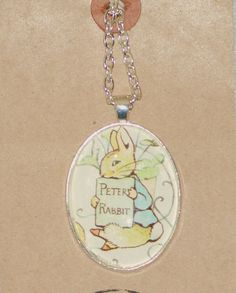 Peter Rabbit necklace Rabbit necklace book page by NovelCharms