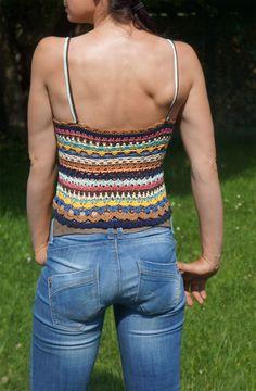 Ravelry: Colorful Hippie Shirt pattern by Diana Christine Crochet Cape, Black Crochet Dress, Crochet Halter Tops, Crochet Shirt, Crochet Crop Top, Crochet Bikini, Crochet Vests, Hippie Top, Hippie Shirt