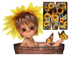 Oh my Alfabetos!: Alfabeto animado nena con girasoles.