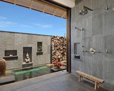 Zen Bathroom coated concrete slab overlooking oriental garden