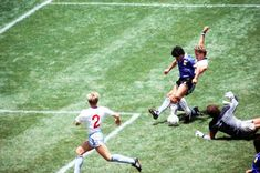 In the 1986 World Cup quarter, Diego Maradona beats England's Peter Shilton again this time with his feet, to score perhaps the greatest individual goal ever seen. History Of Soccer, Retro Football, Football Pics, Nike Football, Retro Pictures, Retro Pics, Diego Armando, Fourth World, Fall From Grace