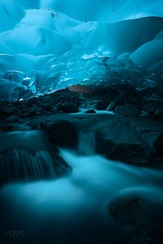 Ice cave under Mendenhall Glacier • Alaska • USA |ॐ| That's some pretty extreme chill there, brother. Only an exile or an underground movement would dare brave it, wink wink.