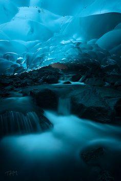 Underwater ice cave