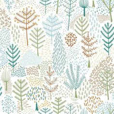 Folklore Trees Peel and Stick Wallpaper - Roll / Blue